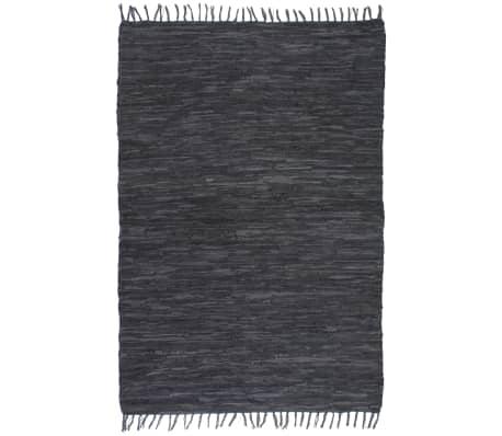 vidaXL Handgewebter Chindi-Teppich Leder 190x280 cm Grau[1/5]