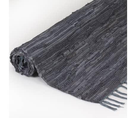 vidaXL Handgewebter Chindi-Teppich Leder 190x280 cm Grau[2/5]