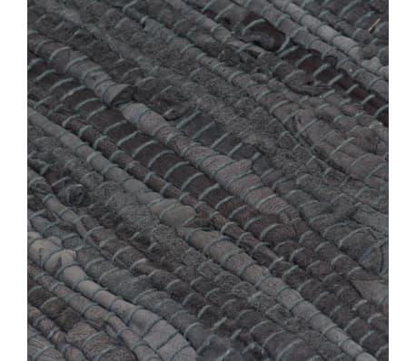 vidaXL Handgewebter Chindi-Teppich Leder 190x280 cm Grau[5/5]