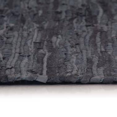 vidaXL Handgewebter Chindi-Teppich Leder 190x280 cm Grau[3/5]