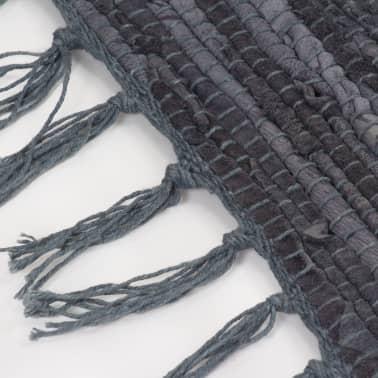 vidaXL Handgewebter Chindi-Teppich Leder 190x280 cm Grau[4/5]