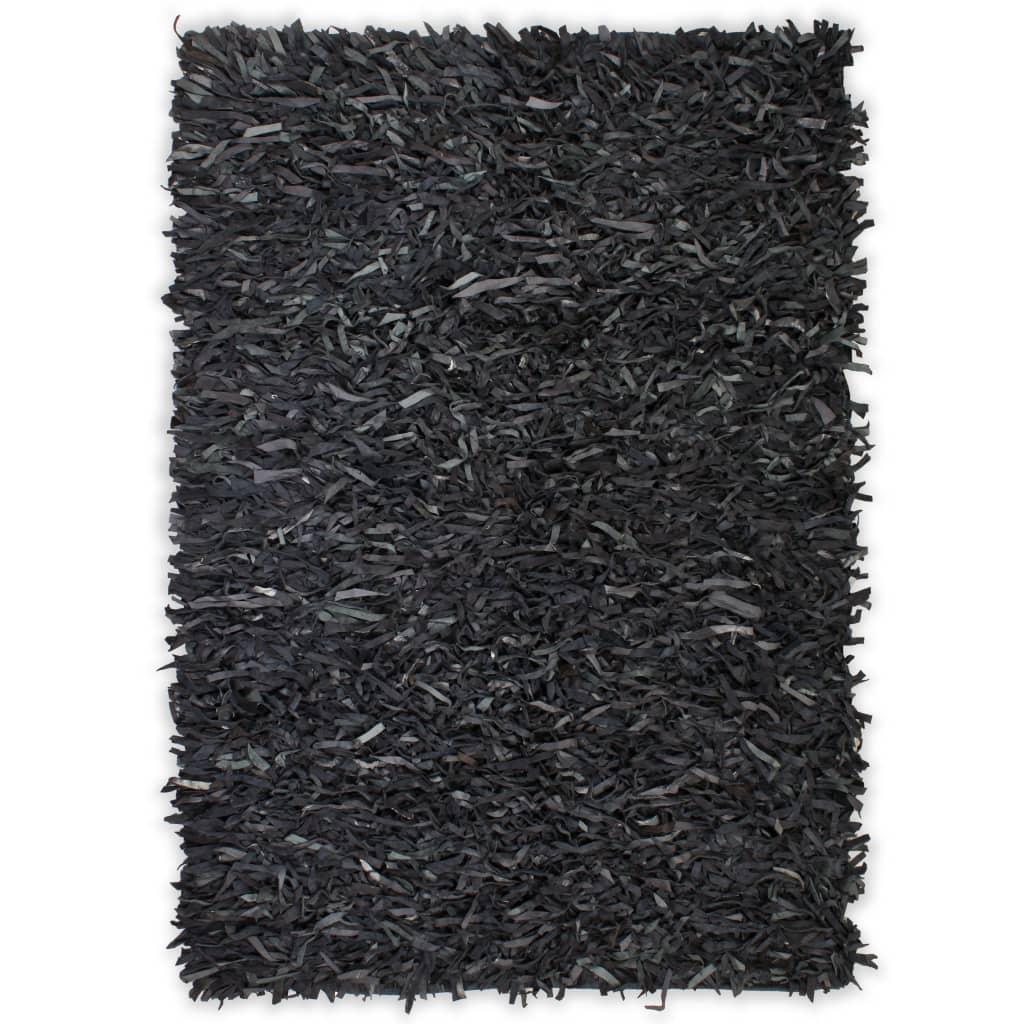 vidaXL Koberec shaggy z pravé kůže 160 x 230 cm šedý
