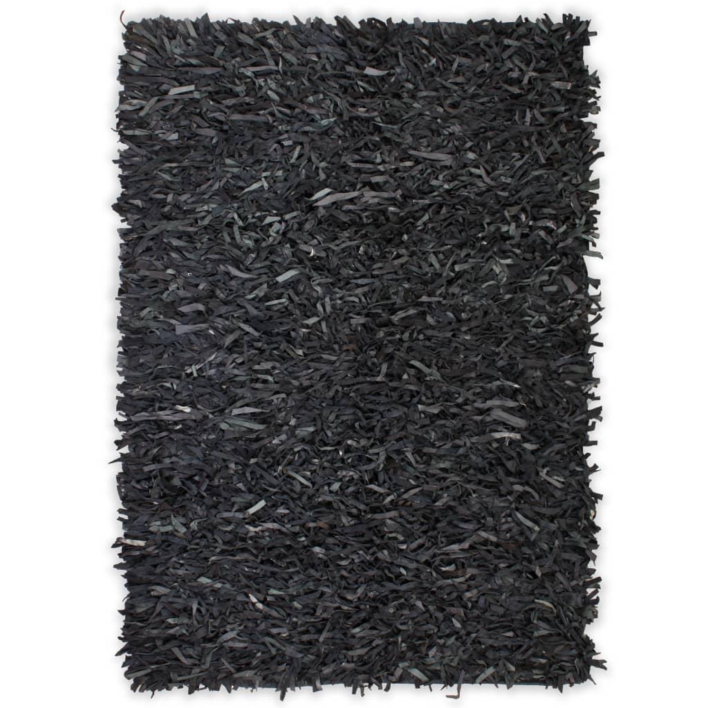 vidaXL shaggy tæppe ægte læder 190 x 280 cm grå