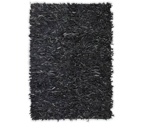 vidaXL Shaggy-Teppich Echtleder 190 x 280 cm Grau[1/5]