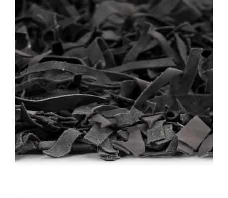 vidaXL Shaggy-Teppich Echtleder 190 x 280 cm Grau[3/5]