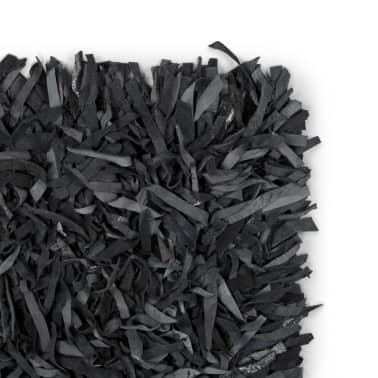vidaXL Shaggy-Teppich Echtleder 190 x 280 cm Grau[2/5]