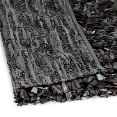 vidaXL Shaggy-Teppich Echtleder 190 x 280 cm Grau[4/5]