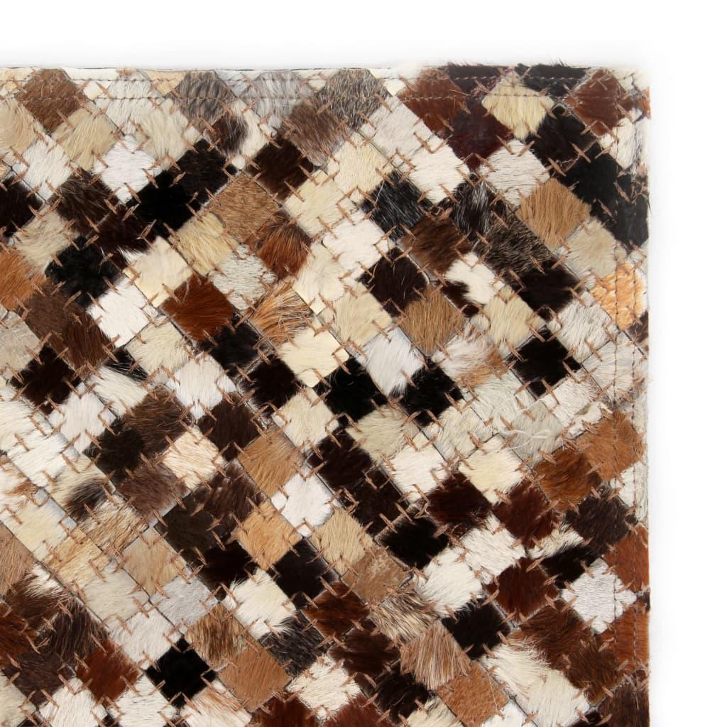 vidaXL Koberec patchwork pravá kůže 80x150 cm čtverce hnědobílý