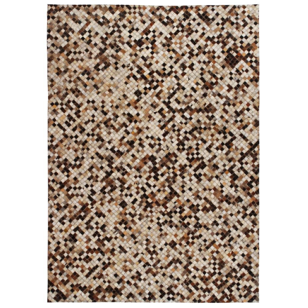 999132597 Teppich Echtes Leder Patchwork 120 x 170 cm Braun Weiß