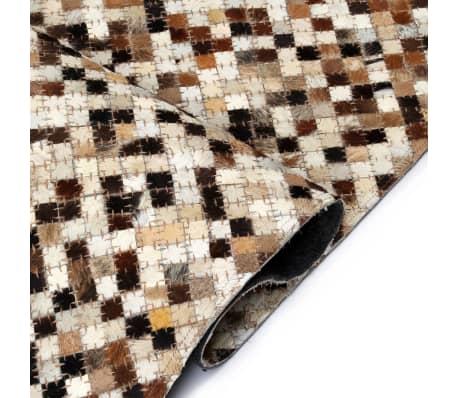 acheter vidaxl tapis cuir v ritable patchwork 120 x 170 cm carr marron blanc pas cher. Black Bedroom Furniture Sets. Home Design Ideas