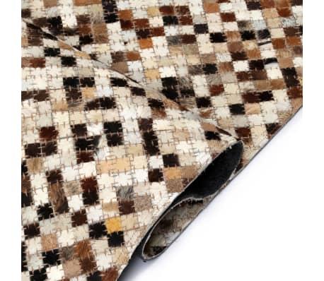 vidaxl teppich echtes leder patchwork 160 x 230 cm braun wei g nstig kaufen. Black Bedroom Furniture Sets. Home Design Ideas