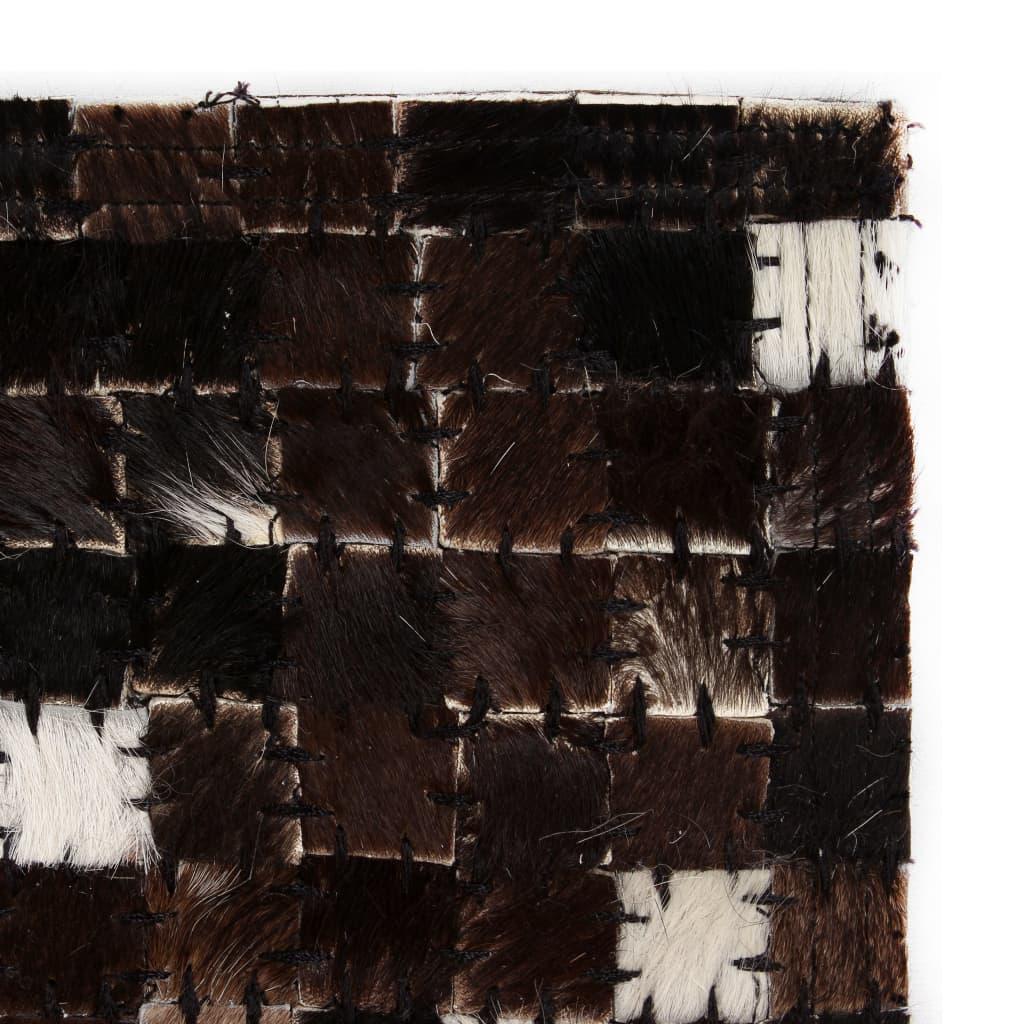vidaXL Koberec patchwork pravá kůže 120x170cm čtverce černobílý