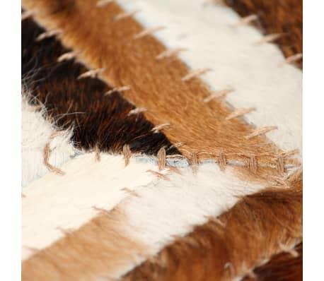 acheter vidaxl tapis cuir v ritable patchwork 80 x 150 cm chevron marron blanc pas cher. Black Bedroom Furniture Sets. Home Design Ideas