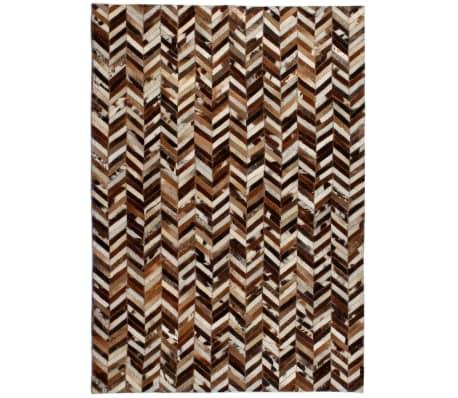 vidaXL Vloerkleed patchwork chevron 120x170 cm echt leer bruin/wit