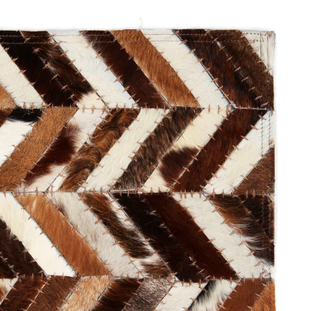 vidaXL Koberec patchwork pravá kůže 120x170cm chevron hnědobílý