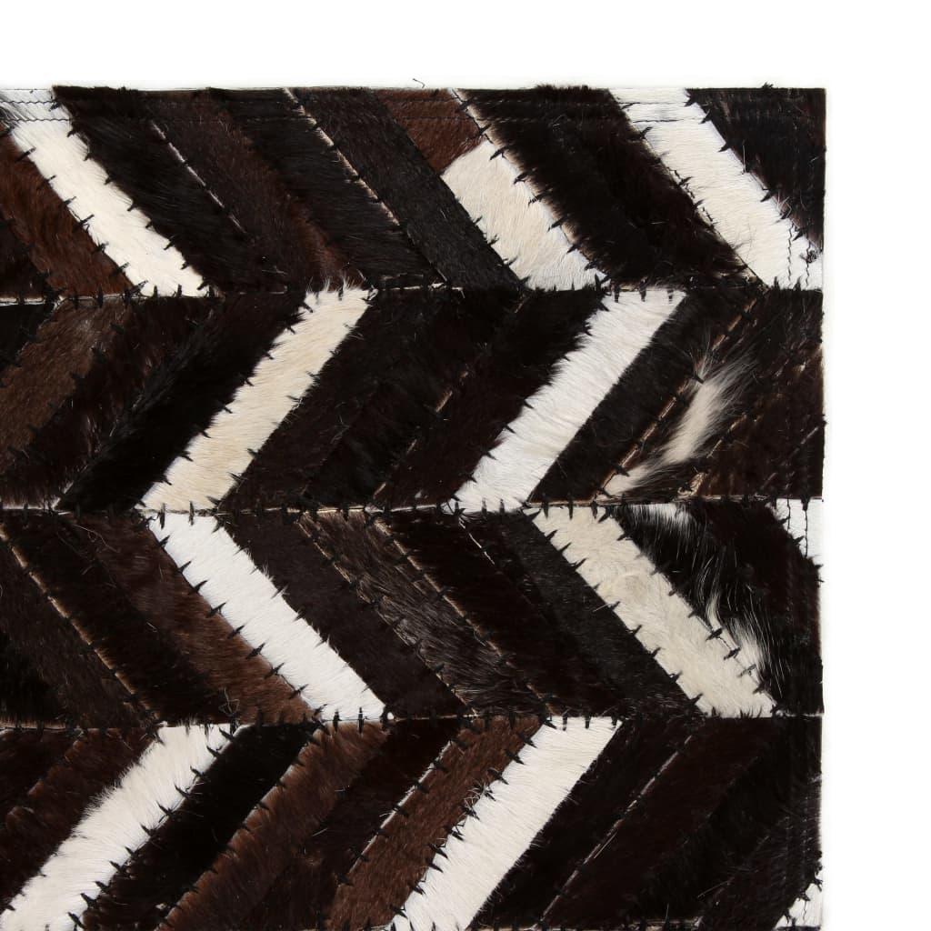 vidaXL Koberec patchwork pravá kůže 80x150 cm chevron černobílý