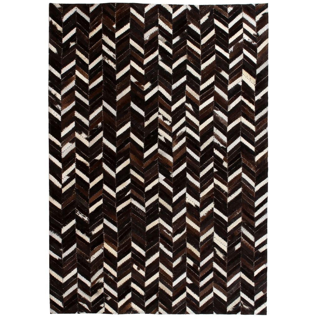 999132607 Teppich Echtes Leder Patchwork 120 x 170 cm Schwarz Weiß