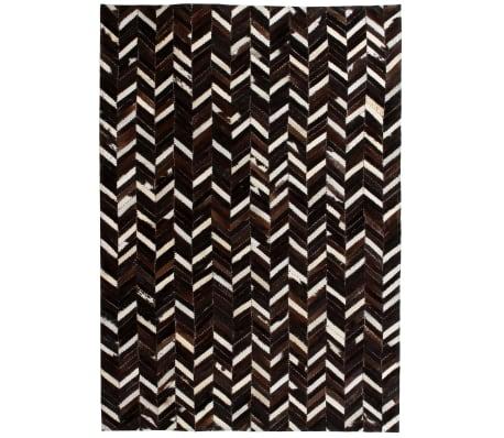 vidaXL Vloerkleed chevron patchwork 160x230 cm echt leer zwart/wit