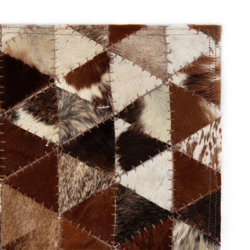 vidaXL Koberec patchwork pravá kůže 80x150 cm trojúhelníky hnědobílý