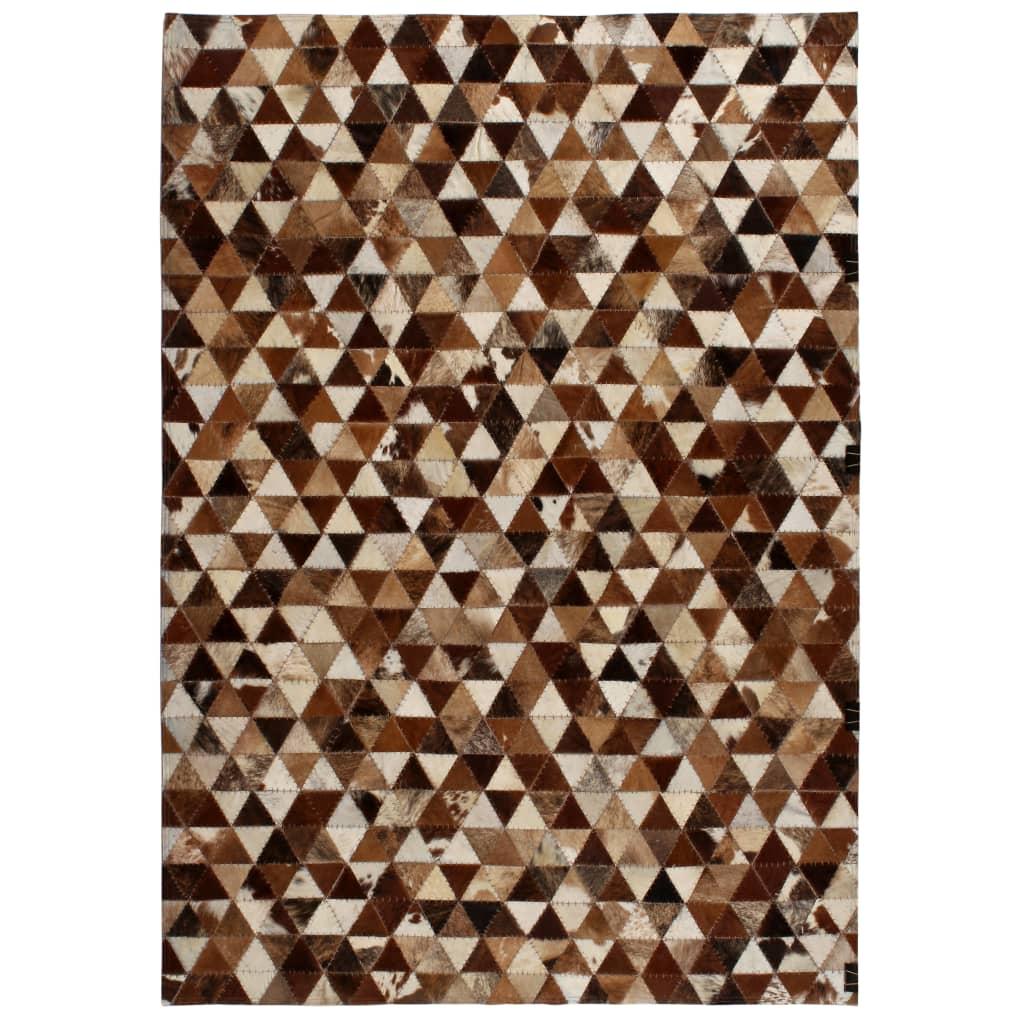 999132611 Teppich Echtes Leder Patchwork 120 x 170 cm Braun Weiß
