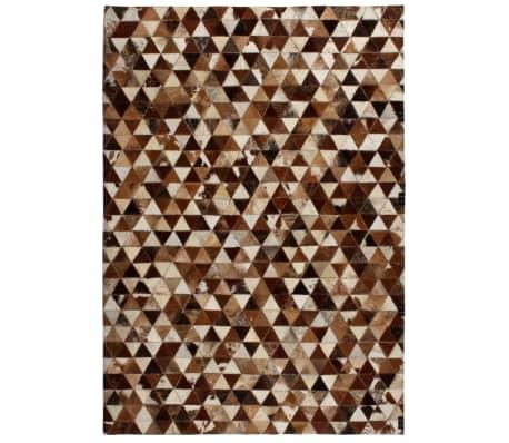 vidaXL Vloerkleed driehoek patchwork 120x170 cm echt leer bruin/wit