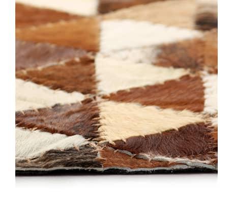 acheter vidaxl tapis cuir v ritable patchwork 160x230 cm triangle marron blanc pas cher. Black Bedroom Furniture Sets. Home Design Ideas