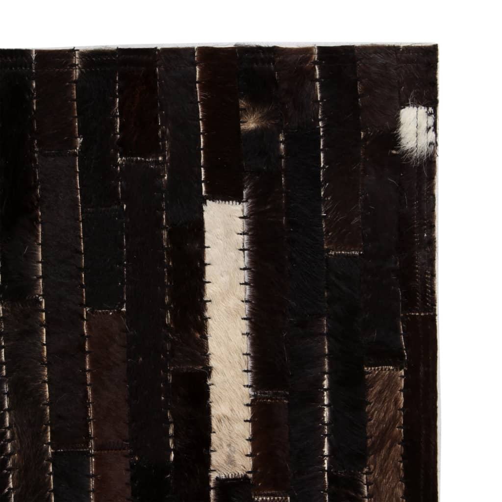 vidaXL Koberec patchwork pravá kůže 80x150 cm pruhy černobílý