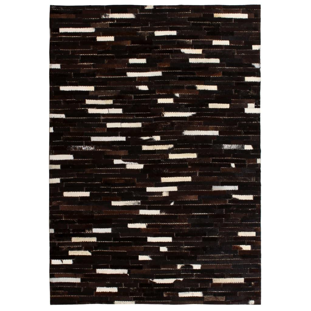 999132614 Teppich Echtes Leder Patchwork 120 x 170 cm Schwarz Weiß