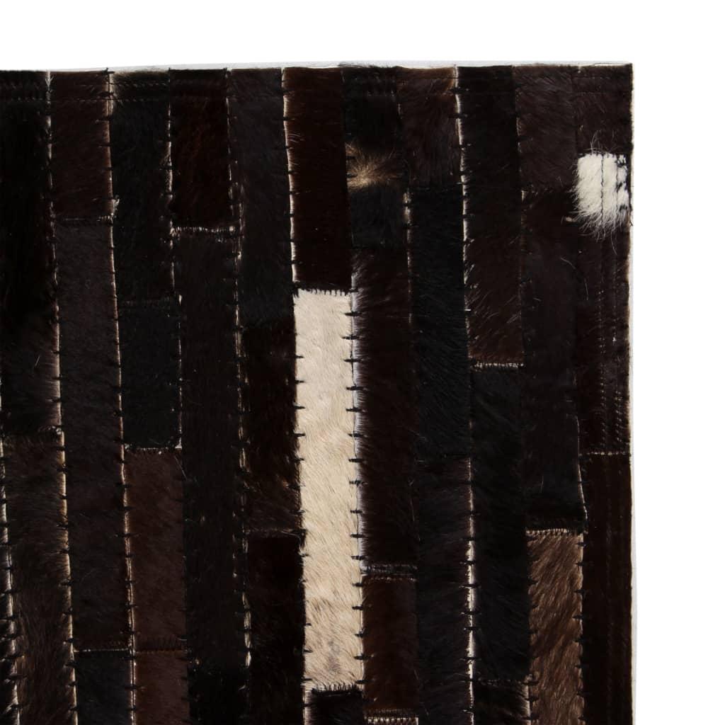vidaXL Koberec patchwork pravá kůže 120x170 cm pruhy černobílý