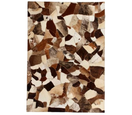 vidaXL Rug Genuine Leather Patchwork 80x150 cm Random Brown/White