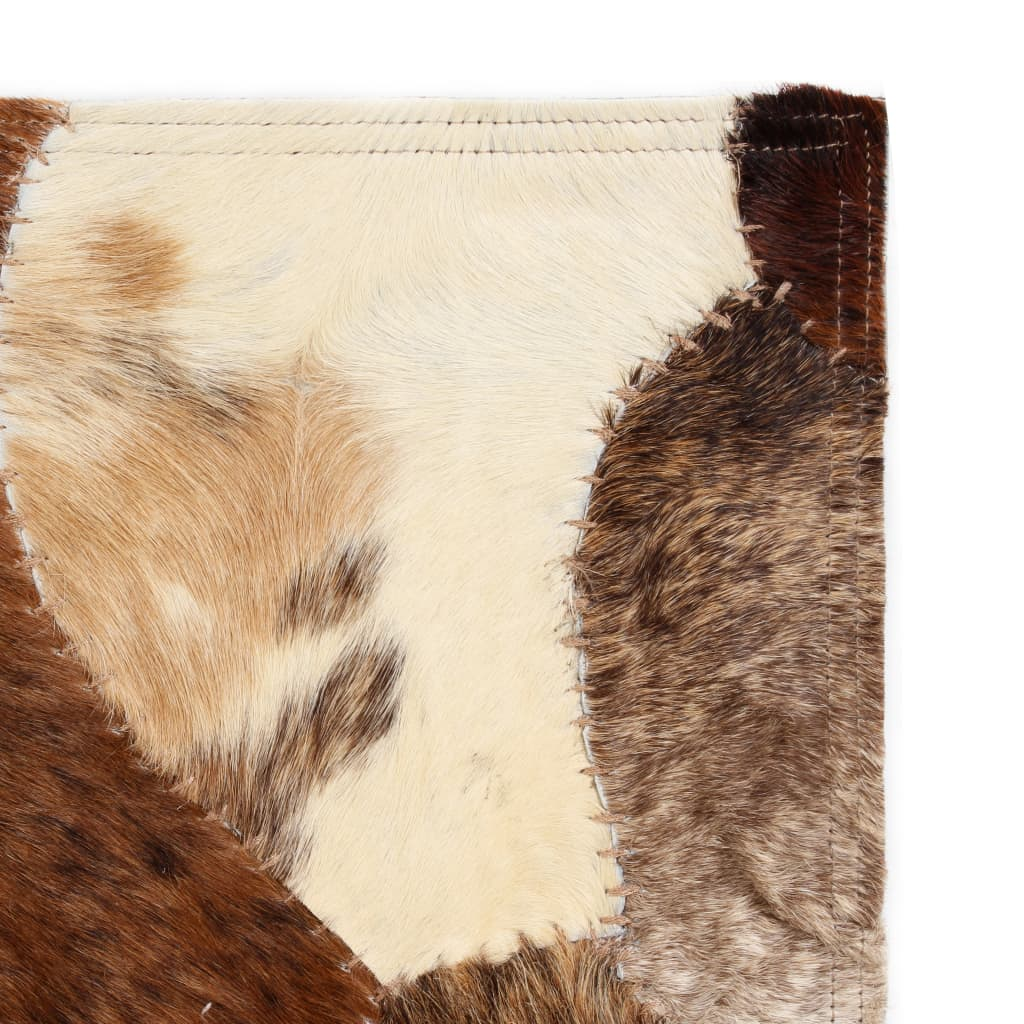 vidaXL Koberec patchwork pravá kůže 80x150 cm z kousků hnědobílý