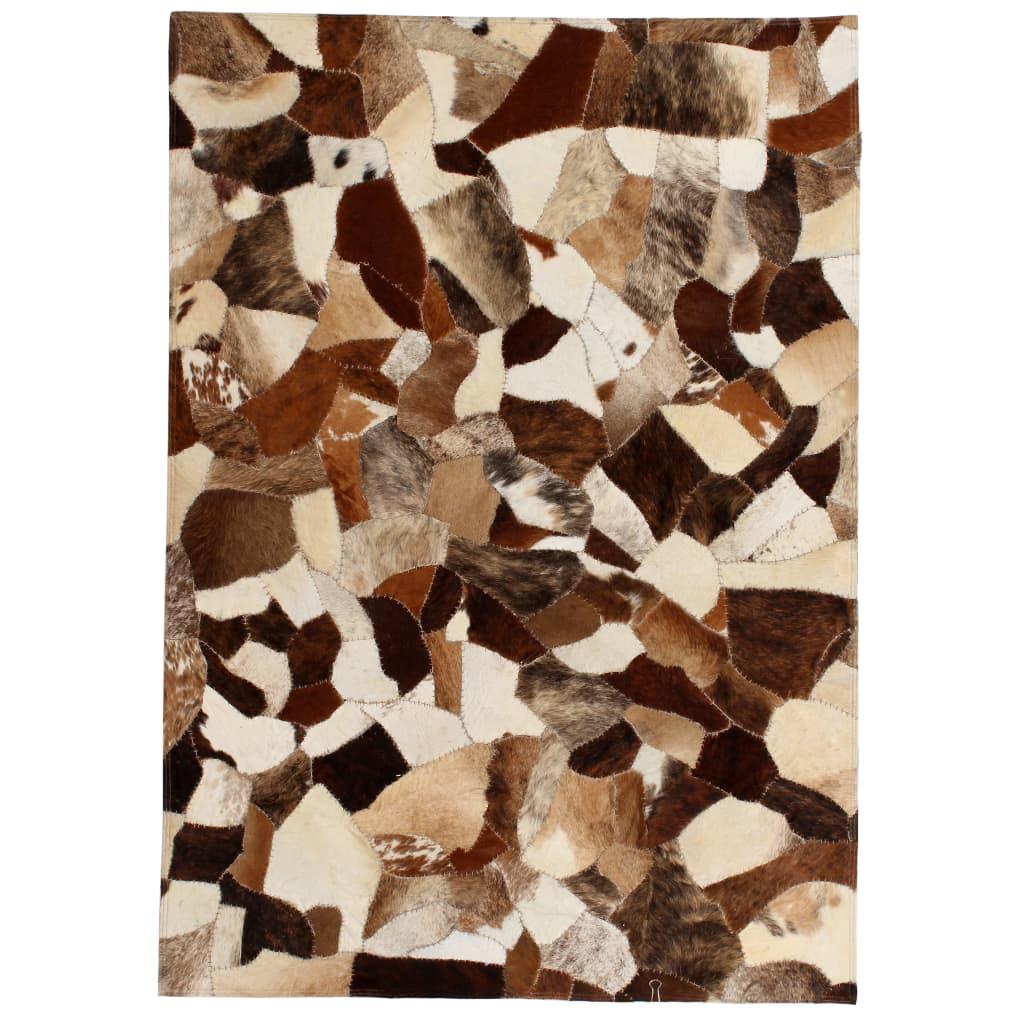 999132618 Teppich Echtes Leder Patchwork 160 x 230 cm Braun Weiß
