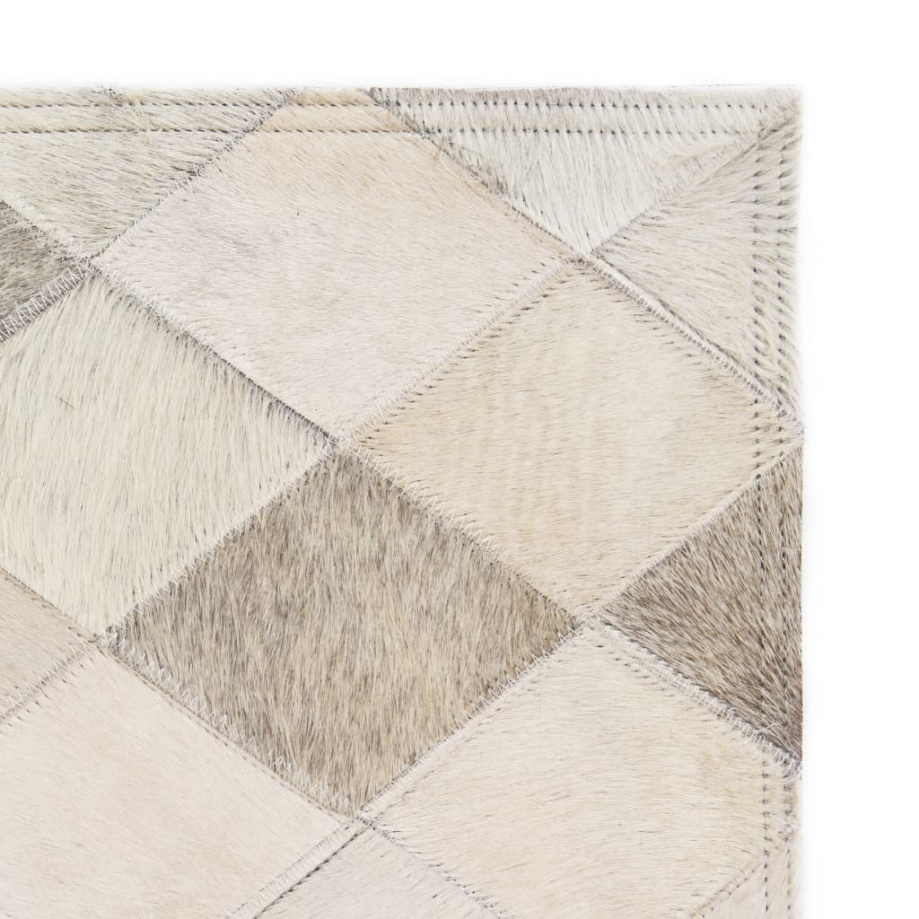 vidaXL Koberec patchwork pravá kůže 120 x 170 cm diamanty šedý
