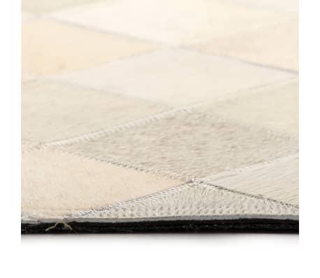 acheter vidaxl tapis cuir v ritable patchwork 120 x 170 cm diamant gris pas cher. Black Bedroom Furniture Sets. Home Design Ideas
