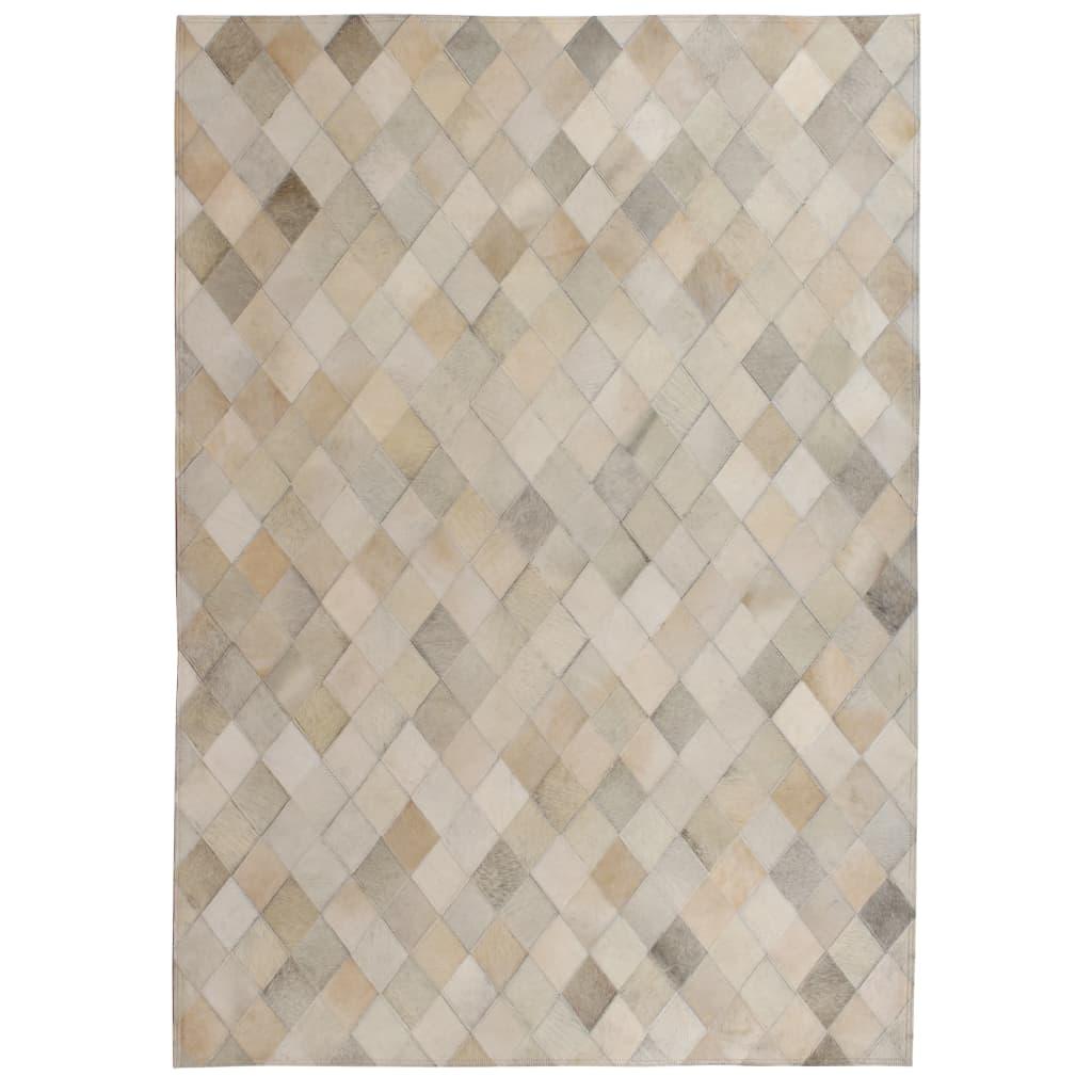 999132621 Teppich Echtes Leder Patchwork 160 x 230 cm Grau