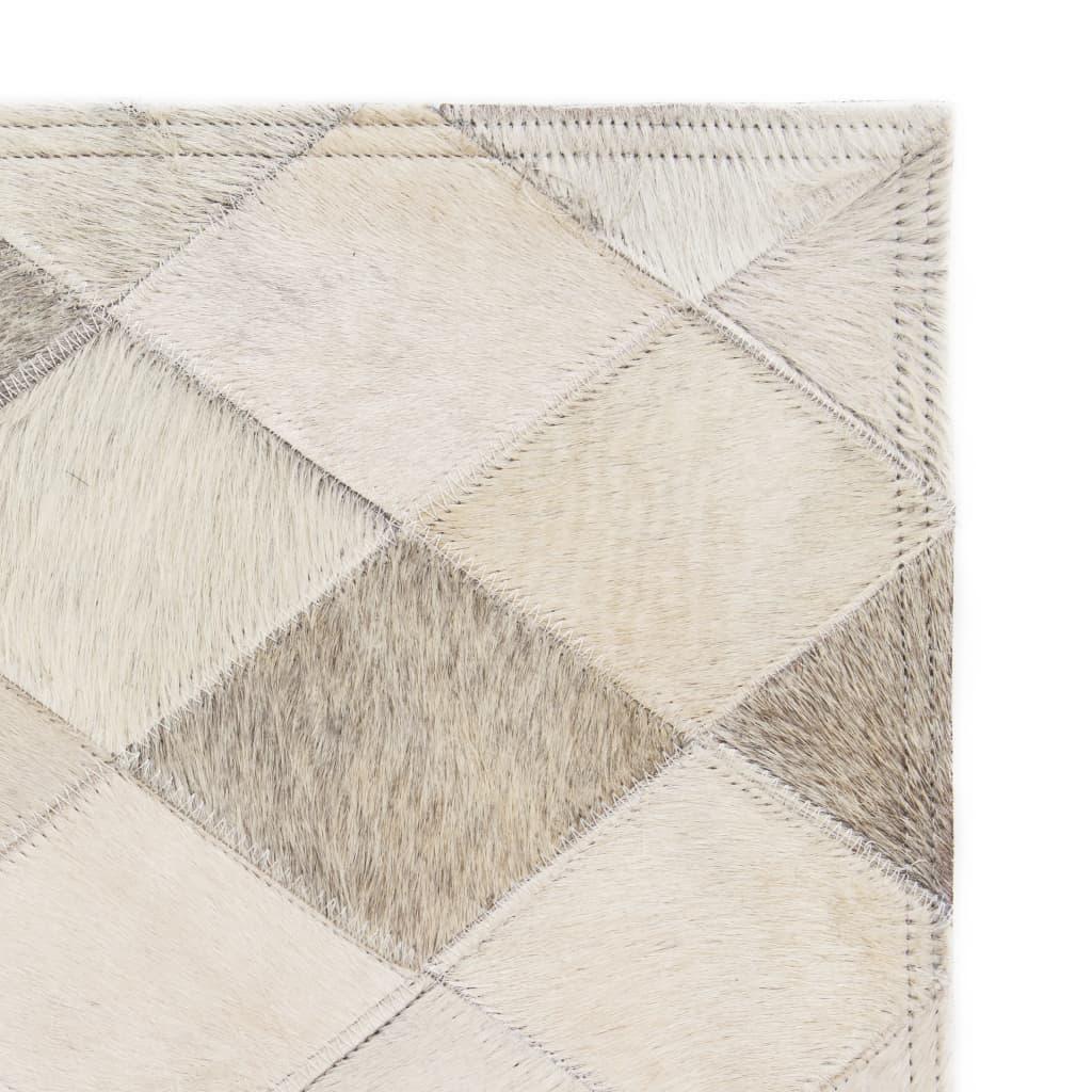 vidaXL Koberec patchwork pravá kůže 160 x 230 cm diamanty šedý