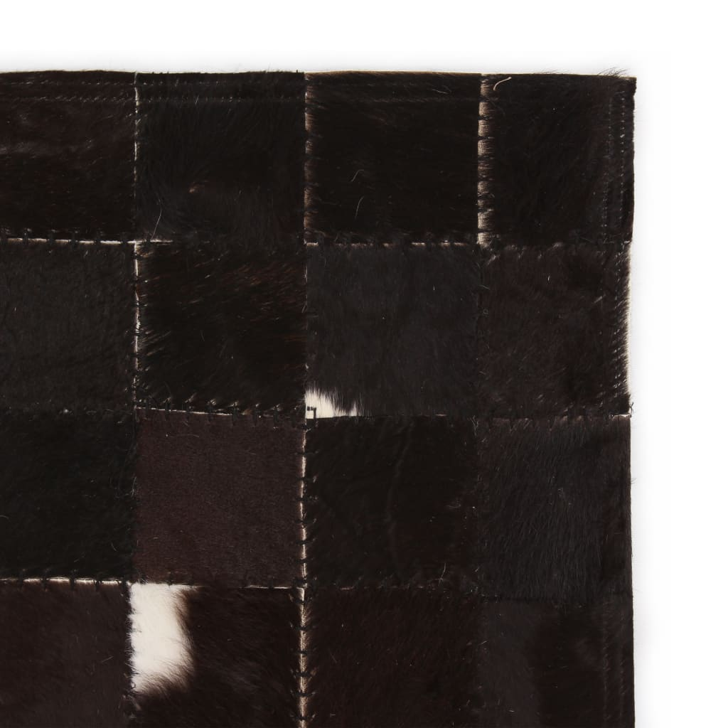 vidaXL Koberec patchwork pravá kůže 80x150 cm čtverce černobílý