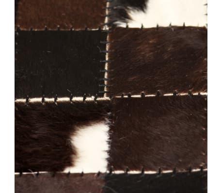 acheter vidaxl tapis cuir v ritable patchwork 80 x 150 cm carr noir blanc pas cher. Black Bedroom Furniture Sets. Home Design Ideas