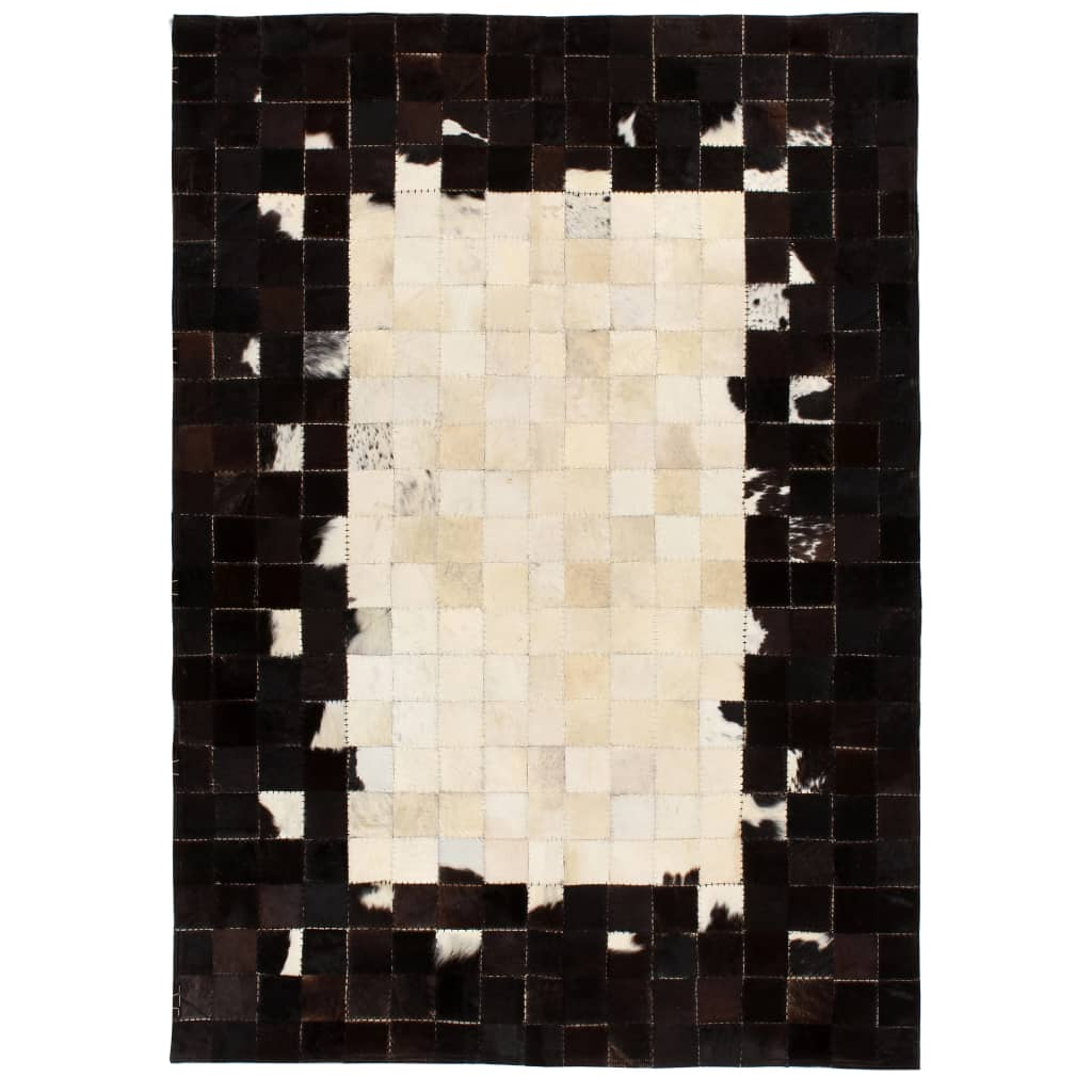 999132624 Teppich Echtes Leder Patchwork 160 x 230 cm Schwarz Weiß