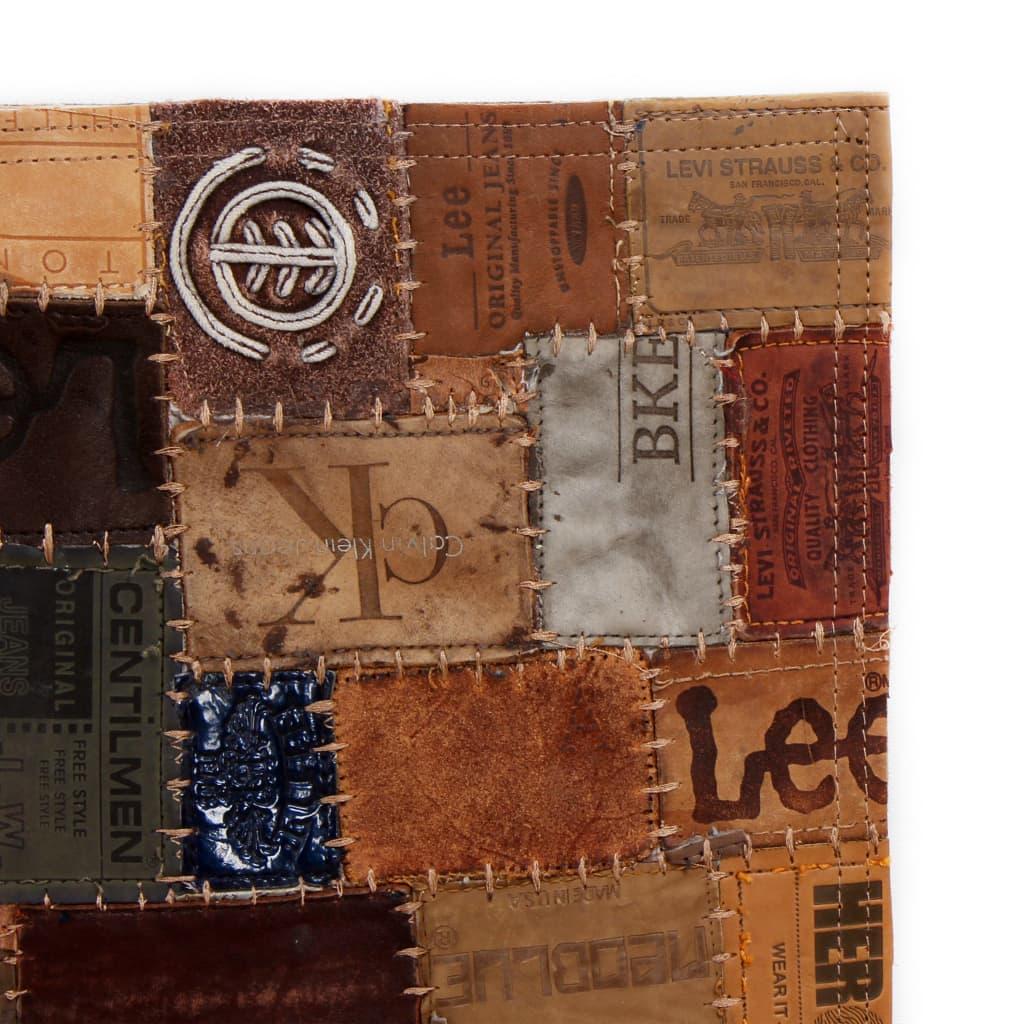 vidaXL Koberec patchwork z cedulek na džíny pravá kůže 80x150 cm hnědý