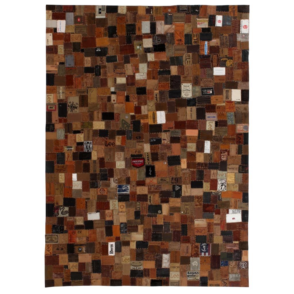 999132626 Teppich Echtleder Jeans-Label Patchwork 120 x 170 cm Braun