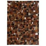 vidaXL Χαλί Patchwork από Ετικέτες Τζιν Καφέ 120x170 εκ. Γνήσιο Δέρμα