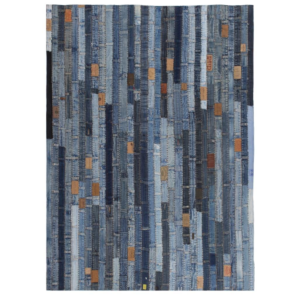 999132628 Teppich Jeansflicken Patchwork 80 x 150 cm Jeansblau
