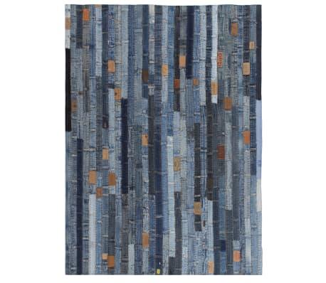 vidaXL Preproga iz pasov kavbojk večbarvna 80x150 cm denim modra