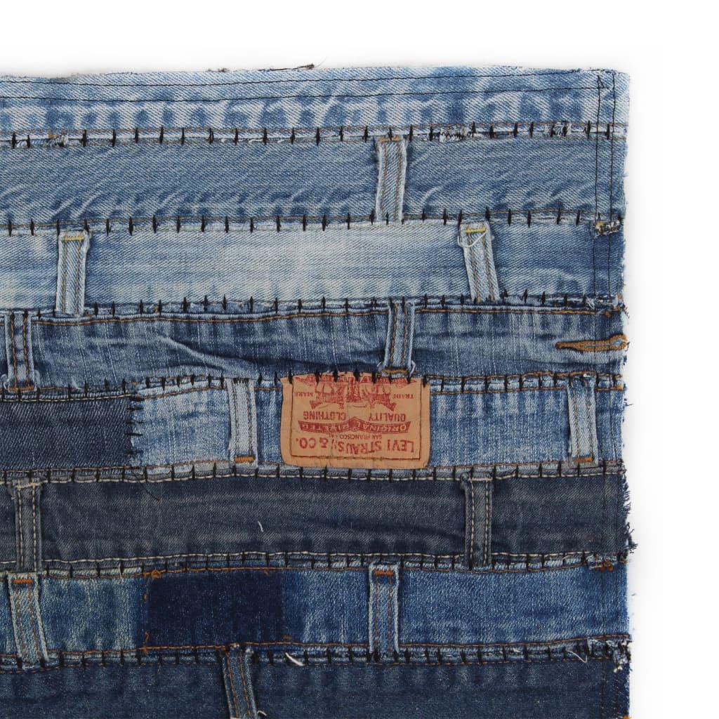vidaXL Koberec patchwork z džínových pasů 120 x 170 cm riflová modrá