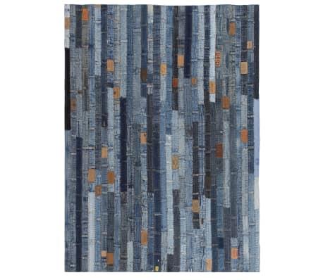 vidaXL Preproga iz pasov kavbojk večbarvna 160x230 cm denim modra