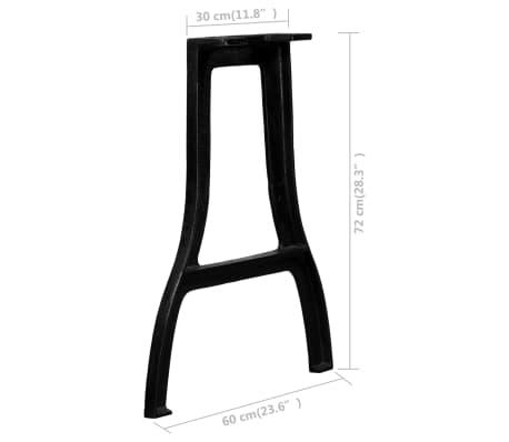 vidaXL Pied de table de salle à manger 2 pcs Cadre en A Fonte[10/10]