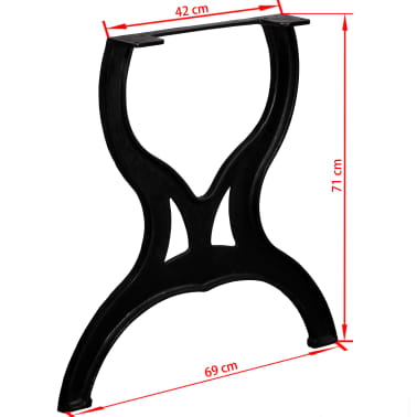 vidaXL Pied de table de salle à manger 2 pcs Cadre en X Fonte[11/11]