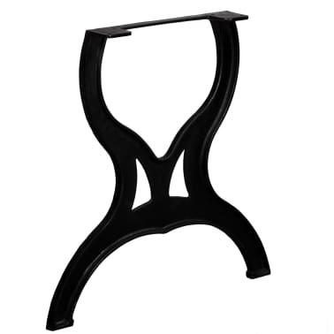 vidaXL Pied de table de salle à manger 2 pcs Cadre en X Fonte[4/11]