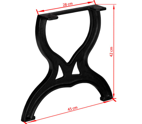 vidaXL Coffee Table Legs 2 pcs X-Frame Cast Iron[11/11]